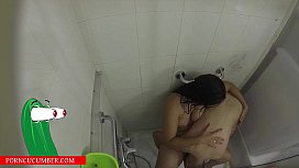 She pisses in the shower and he sucks her pussy after