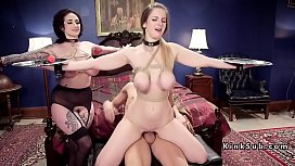 Busty babes getting anal slaves training