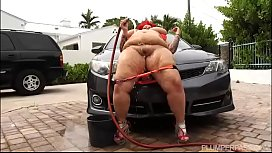 Huge Tit BBW MILF Washes Car And Takes It Up The Ass