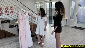 Lesbian mother in law teaches virgin girl about sex
