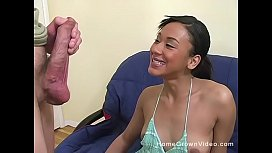 Petite hairy mixed amateur cutie taking a white cock