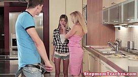 Stunning stepmoms threeway with innocent teen