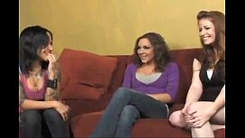 Straight Curious Brunette Seduced into Lesbian Threesome by Young Dyke Couple