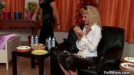 Curly blonde Euro babe loves messy cake