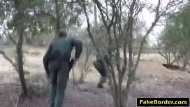 Slutty Latina babe fucked by fake border patrol agent