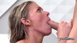 Flawless babe gets her wet slit entire of warm pee and squirts porn vid