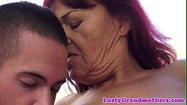 Redhead granny rides dick after bj outdoors