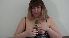 Beautiful BBW with a long cucumber fucks her hairy pussy and shakes a juicy PAWG in panties. Organic masturbation at home.