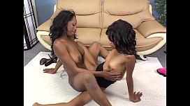 Ebony lesbian dual toys