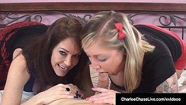 BJ Babes Charlee Chase &amp_ Taylor Raz Share A Hard Cock!