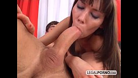 Creampied ass in hard anal threesome SL