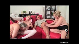 Old And Young Foursome With Hot Granny