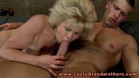 Mature granny drools on young cock