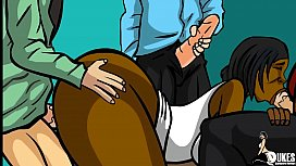 Thick ebony Teacher Gangbanged by her class