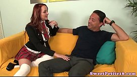 Inked pierced amateur teen nailed on couch