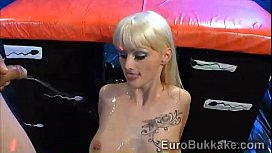 Beautiful blondie gets covered with thick layers of semen