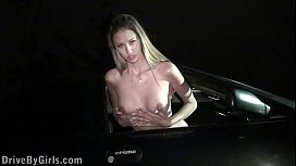 A porn star Kitty Jane is undressing in a car on her way to public sex gang bang
