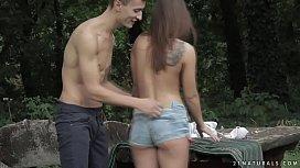 Cute teen enjoys anal sex in the garden - Renata Fox and Charlie Deen