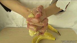 Hand crush fetish Banana crush