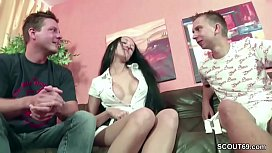 German Amateur Teen Couple Seduce to 3some with Stranger