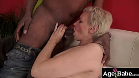 Granny Masha got a big black cock in her mouth and mature pussy