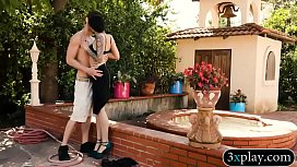 Tattooed babe gets fucked by the poolboy
