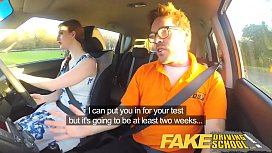 Fake Driving School Posh freaky redhead with big tits and ginger bush fucks