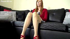 Redhead Footjob in Pantyhose