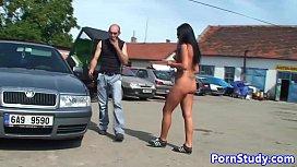 Nudist eurobabe teases mechanics