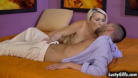 Blonde cougar Bibi Pink getting excited with a young and hard cock taking it all in her mouth and vintage pussy