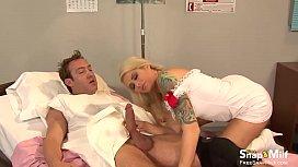 Slutty blonde nurse with massive tits sucks the cock
