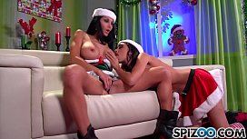 Spizoo - Ava Addams and Trinity St Clair fucks Santa's big dick, big boobs