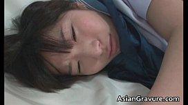 Nasty oriental schoolgirl sucks weiner