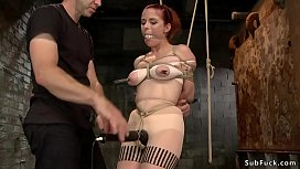 Busty Penny Pax in tights tormented