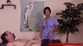 Mature masseuse dominating over horny client