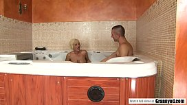 Sizzling Granny Orhidea Shares Bath with Shaved Stud