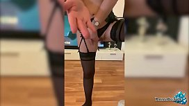 Blonde in Stockings Hard Fingering and Squirting