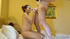 Petite Thai teen sucks a massive cock before tight pussy drilling