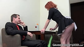 Ginger maid fucks with mature boss and his chubby wife