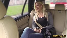 Extraordinary babe Nathaly gets pussy slammed hard in the taxi