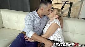Naughty grandma having a taste of hard cock and hot cum