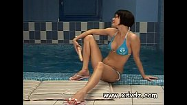 Brunette Watches Swimmers Muscles Until She Cant Stand It Anymore