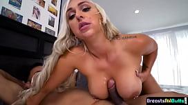 MILF babe tittyfucking and sucking black cock