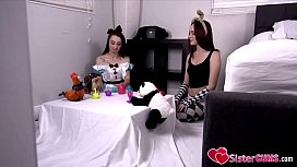 SisterCUMS.com: Loli Sister (Alice Coxx) &amp_ (Kat Hunter) Playing Dolls