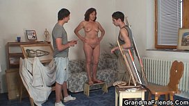 She pleases two horny painters xxx image