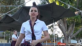 Teen Racahel gets sexual with her lover in the school bus