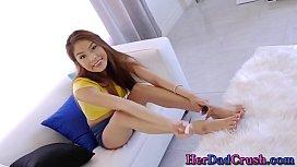 Asian teen stepdaughter gets feet spermed