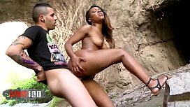 Amazing Black Butt Noe MILK fucking with Kevin White in a cave