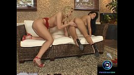 Provocative babes Jasmine and Mya Diamond with wet dildo sessions