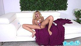 hot blonde goes crazy masturbating with her huge vibrating dildo